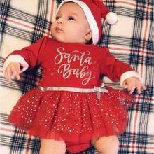 2019 Christmas Newborn Infant Baby Girl Red Dress Long Sleev