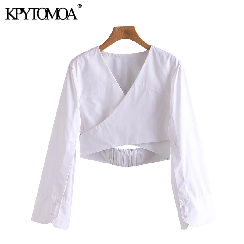KPYTOMOA Women 2020 Sexy Fashion Hollow Out White Cropped Blouses Vintage Crossover V Neck Long Sleeve Female Shirts Chic Tops