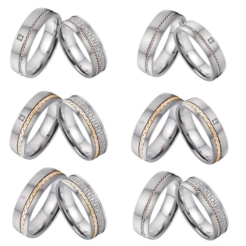 Bague homme luxe Alliance Couple anneaux de mariage ensemble pour hommes et femmes titane 14K or rose bague femme vrais diamants anneaux