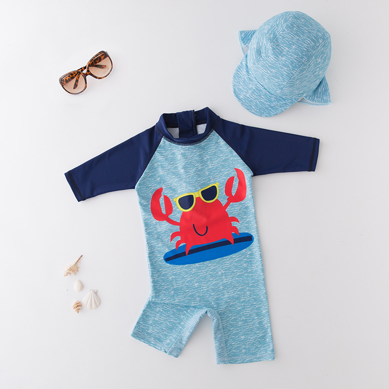 KID'S Swimwear Boys' Cotton One-piece Swimsuit Crab Sky Blue Beachwear Sun-resistant Spa Resort Tour Bathing Suit