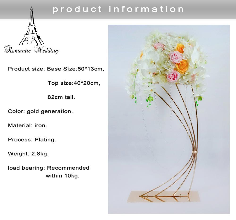 32 Высокая золотая металлическая подставка для цветов для свадебного украшения стола - 6