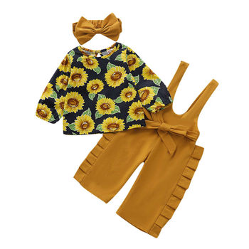 Pudcoco Newborn Baby Girl Fall Clothes Sunflower Puffle Sleeve Tops+Bow Slip Pants Overalls +Headband Cotton Autumn Outfit Set image