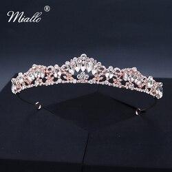 Miallo, модные женские цветные тиары из розового золота с кристаллами и короной, украшения для волос, аксессуары для волос, подарок на выпускно...
