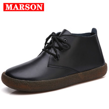 MARSON Women's Casual Boots Genuine Leather Lace up Ladies Moccasins Short Ankle Boots Ankle for Women Footwear Flats Shoes