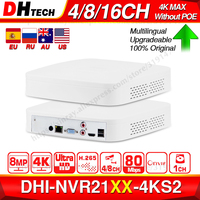 Dahua Original 4K NVR NVR2104 4KS2 NVR2108 4KS2 NVR2116 4KS2 4/8/16CH 1U Lite Network Video Recorder H265 For IP Camera System