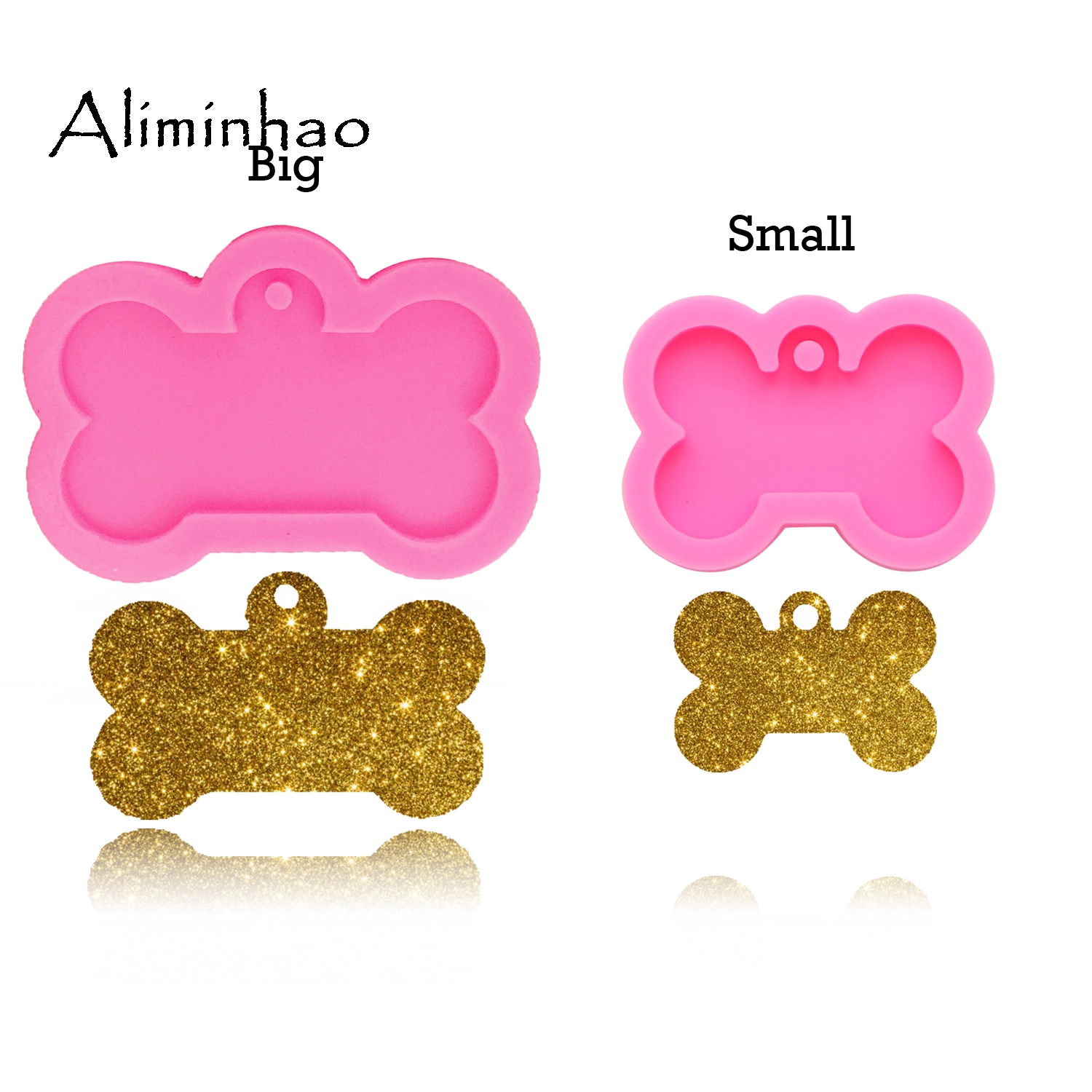 DY0061 shiny Dog bone shape silicone mold for key chain Pendant moulds suitable for  clay DIY Jewelry Making epoxy Resin mold
