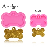 DY0061 shiny Dog bone shape silicone mold for key chain Pendant moulds suitable  clay DIY Jewelry Making epoxy Resin