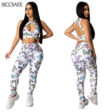 Butterfly Printed Two Piece Set Open Back Crop Top And Pants Sweat Suit Hole Cut Out Tight Slim Fit Bandage Outfits Bodysuit cut out crop top