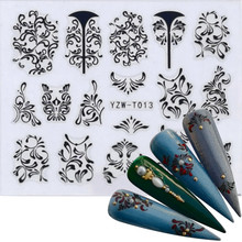 1 PC 3D Nail Stickers Star/Skull/Crown/Flowers Image Transfer Decal Gold/Black Color Adhesive Nail Art Decorations