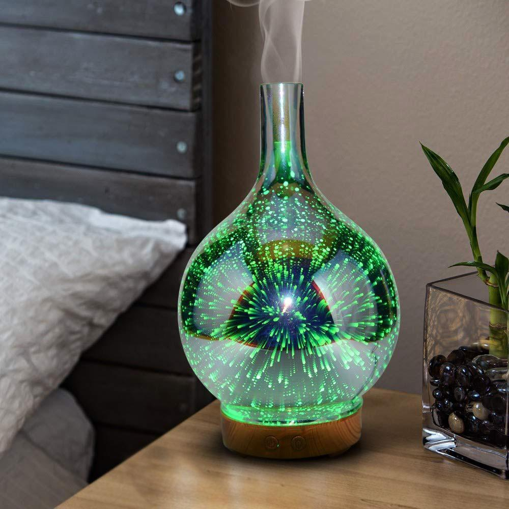 Electric Humidifier Stardust Oil Diffuser Glass Colorful Vase Humidifier Home 3D Mini Aromatherapy Machine Night Light Hot