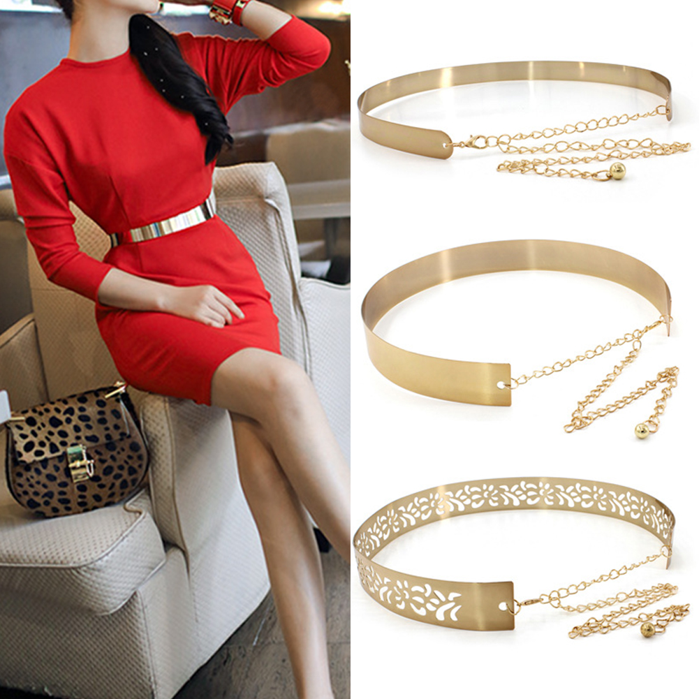 Women Elegant All Suit Fashion Decorations Wide Side Casual Stretchy Belt Metal Solid Eye Catching Waistband Chain Coat Dress