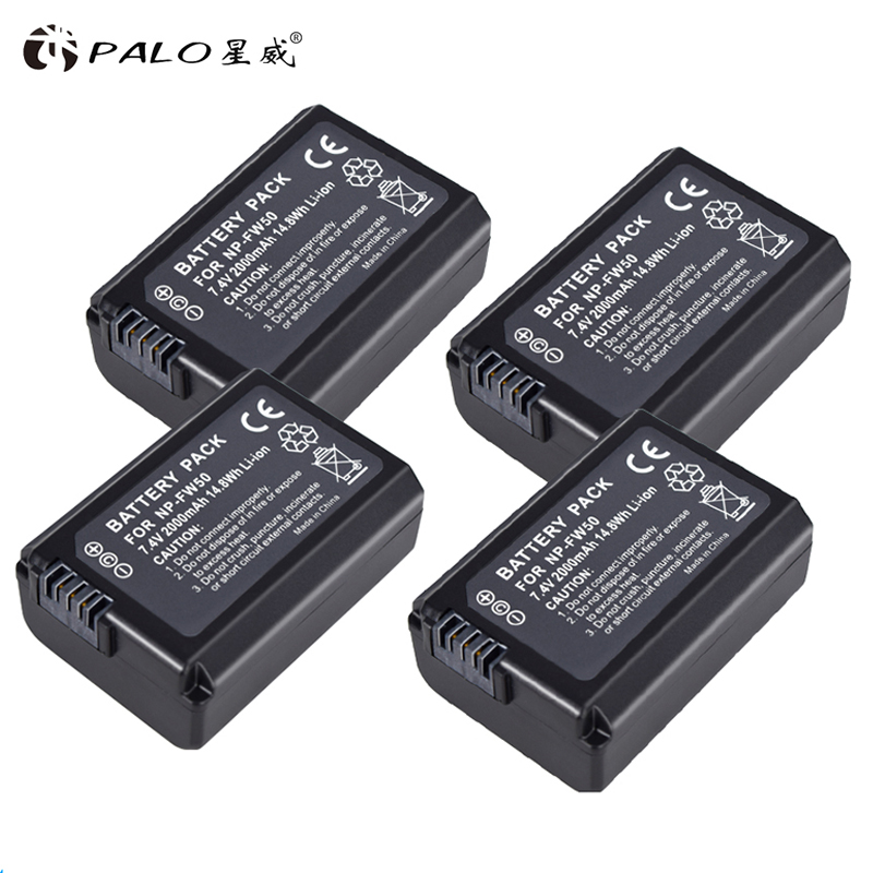 PALO 4Pcs NP-FW50 Camera Battery NPFW50 NP FW50 For SONY A5000 A5100 A7R NEX5 5R 5N A6000 A7 NEX6 NEX7 NEX5R NEX5N