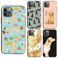 De dibujos animados Golden Retriever perro teléfono funda para iPhone 11 12 Pro Max mini X XR XS Max 6S 8 7 Plus 2020 cubierta