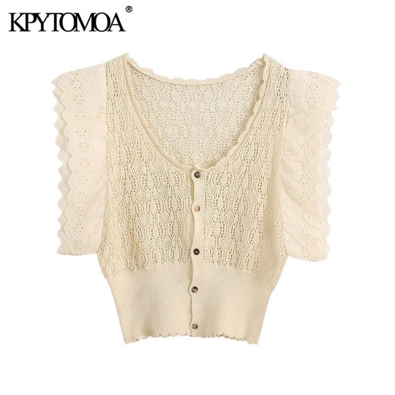 KPYTOMOA Women 2020 Sweet Fashion Ruffled Cropped Knitted Blouses Vintage V Neck Sleeveless Female Shirts Blusas Chic Tops