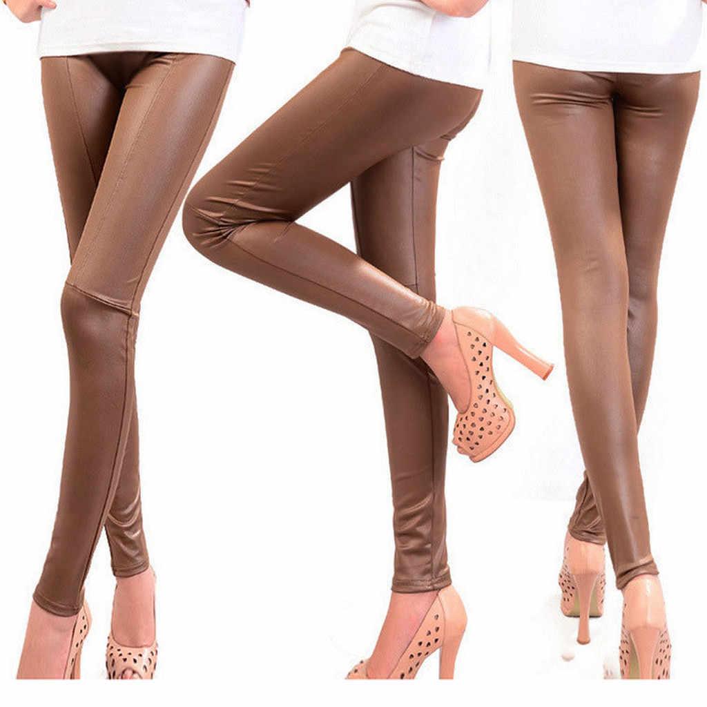 2019 秋新フェイクレザーセクシーな薄型黒レギンス Calzas Mujer レギンスレギンスストレッチプラスサイズ 3XL # K15