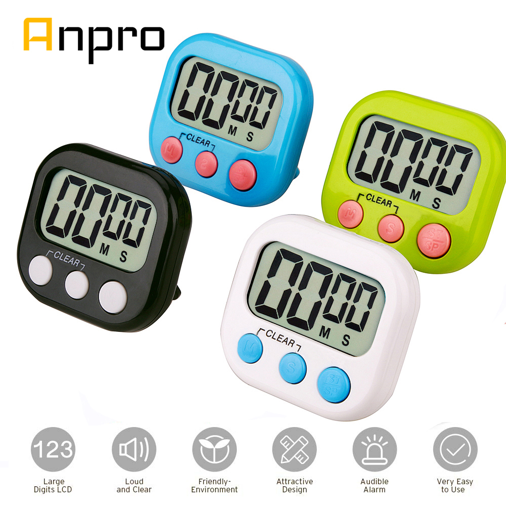 Anpro Digital Kitchen Timer Big Digits Loud Alarm Magnetic Backing Stand with Large LCD Display for Cooking Baking Sports Games(China)