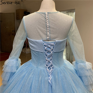 Image 5 - O Neck Blue High end Sexy Wedding Dresses 2020 Long Sleeve Ruched Tiered Bride Gowns Serene Hill DHA2316 Custom Made