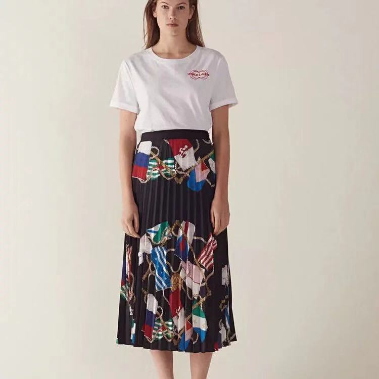 hot selling women fashion printing pleated skirt