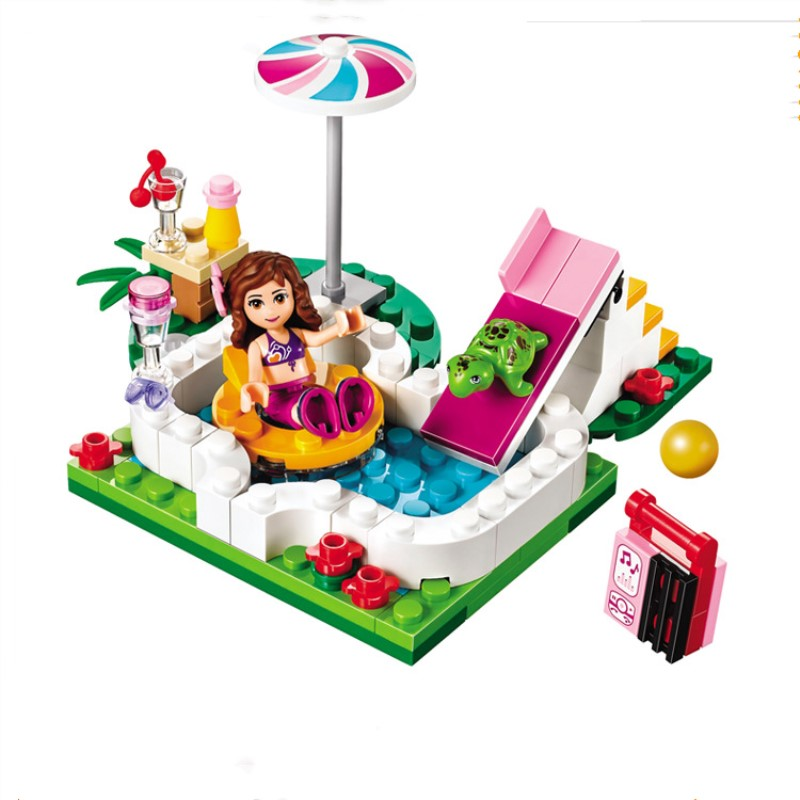 89pcs Girl Friends Olivia's Garden Wwimming Pool Compatibie Lepining Building Blocks Toys Kit DIY Educational Children Gifts