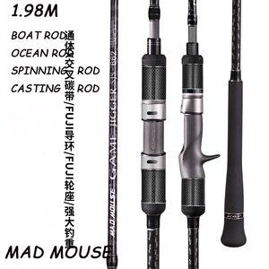 Image 1 - Madmouse japão fuji completo peças lenta jigging haste 1.98m pe 3 6 isca peso 150 400g 20kgs girando/fundição barco haste oceano