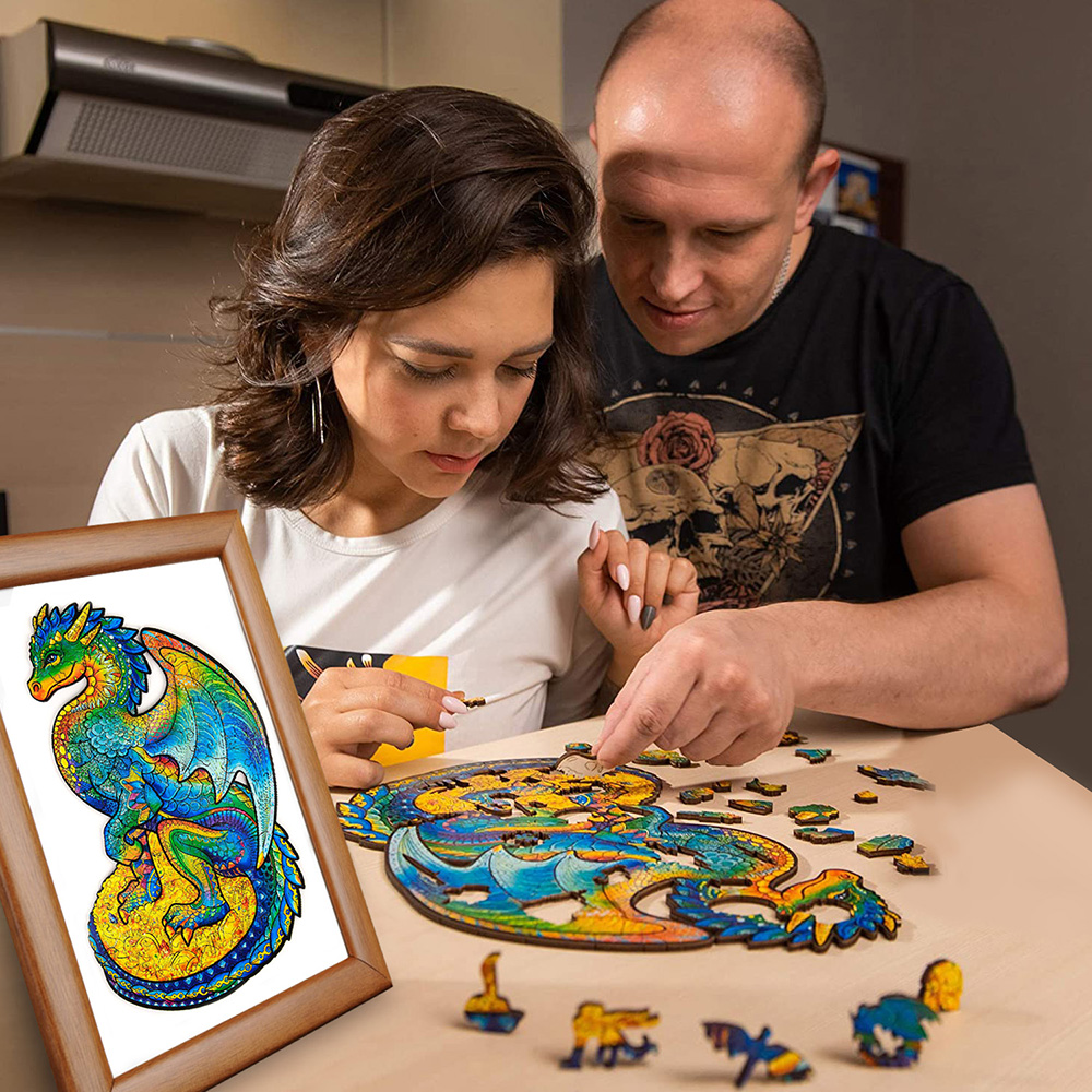 Деревянные пазлы «сделай сам», игрушки-животные для детей и взрослых, подарок для детей, 3D-пазлы в форме единорога и дракона, Деревянные Реме...