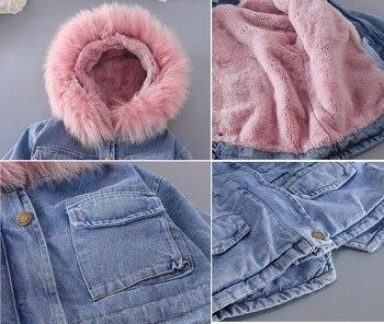 Girl's Eco Fur Hood Denim Coat 6