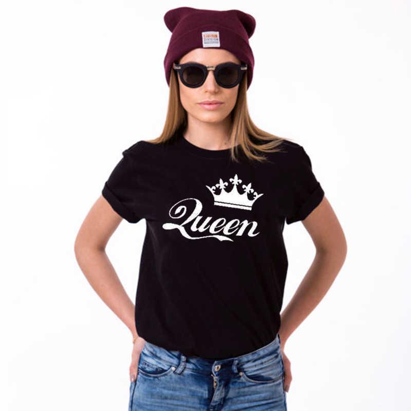 Unisex divertente Stampa Top Tee Coppia Tshirt Re e queen T Camicette con Corone Coppie di Corrispondenza T-Shirt