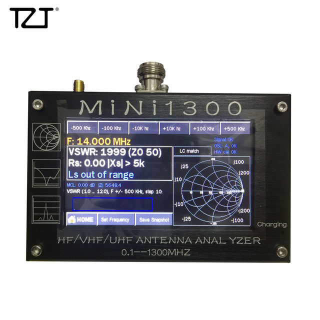 "TZT 2020 חדש Mini1300 HF/VHF/UHF אנטנת Analyzer 0.1 1300MHz עם 4.3 ""TFT LCD מגע מסך אלומיניום סגסוגת Shell"