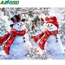 Azqsd 5d diy pintura diamante boneco de neve quadrado completo perfuração artesanato diamante bordado mosaico inverno paisagem natal presente