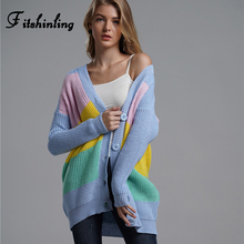 Fitshinling Multicolor Patchwork Winter Long Cardigan Female Clothes 2019 Slim Boho Buttons Up Cardigans Women Knitted Jacket