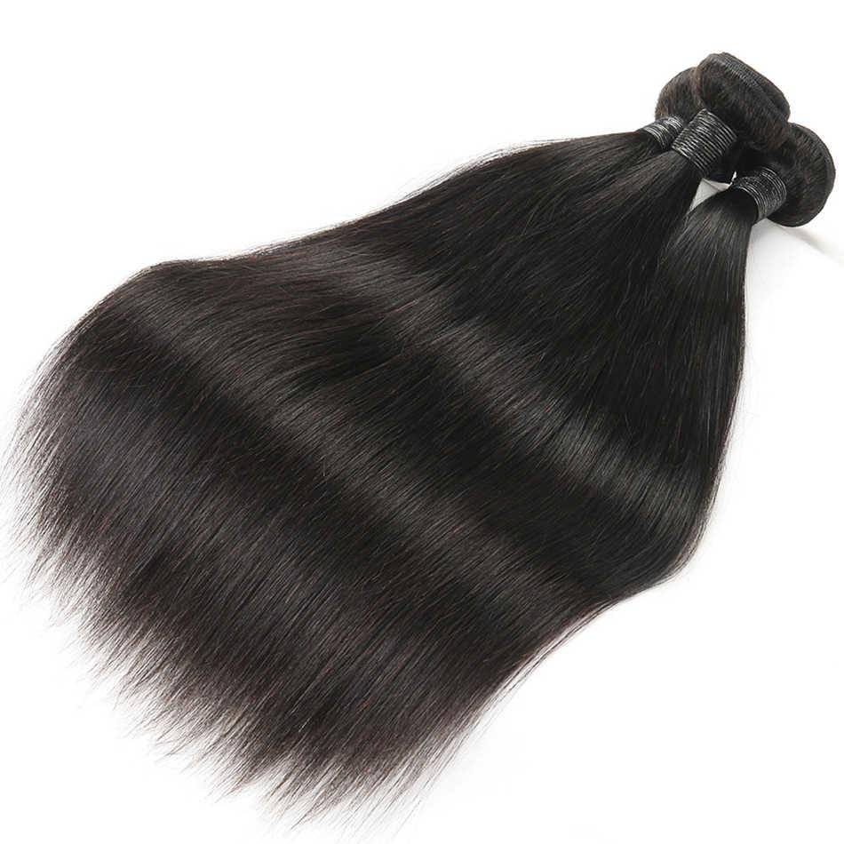 Alimice, индийские прямые человеческие волосы, пряди с закрытием, 3 пряди, волосы для наращивания с закрытием, Remy, кружевные пряди