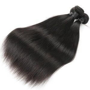 Image 5 - Alimice Indian Straight Menselijk Haar Bundels Met Sluiting 3 Bundels Hair Extensions Met Sluiting Remy Lace Sluiting Met Bundels