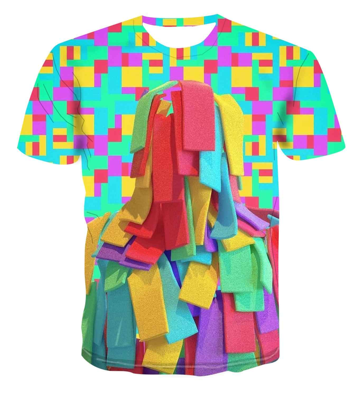 3Dポッププリントシンプルなファッションスタックカラフルな幾何学クリエイティブデザインtシャツメンズストリート多彩なクールユニークなハンサムs-6xl