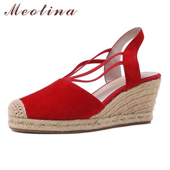 Meotina Espadrille Wedge High Heels Shoes Slingbacks Women Pumps Kid Suede Round Toe Footwear Female Summer Party Shoes Lady Red