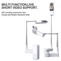 חם נייד טלפון מחזיק מעמד כפול ציר 360 תואר סיבוב עם אלחוטי Dimmable LED Selfie למלא אור מנורת עבור לחיות וידאו