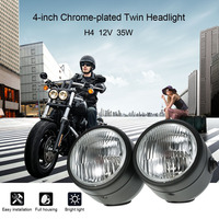 H4 12V 35W 4 zoll Flexible Motorrad Twin Scheinwerfer scheinwerfer Front Lampe kühlen motorrad nebel lichter wasserdicht motorrad auf