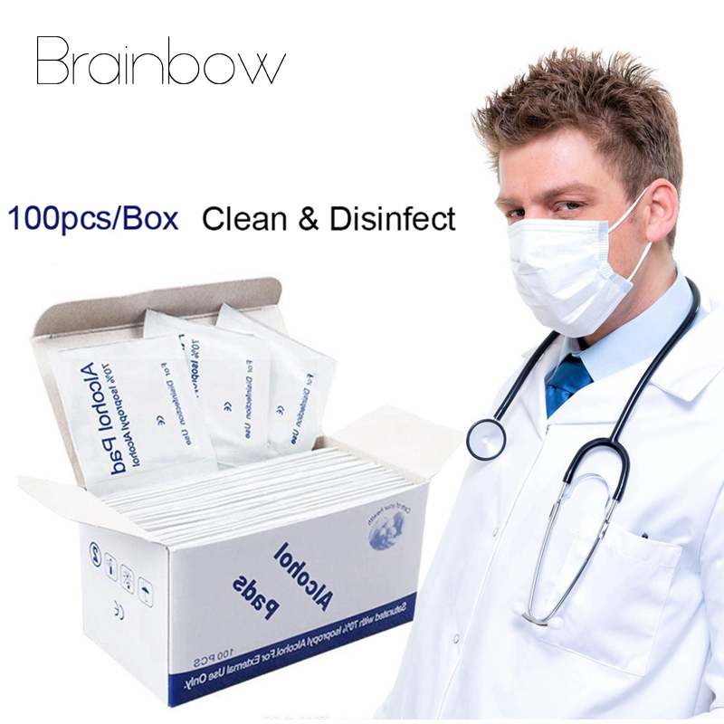 Brainbow Portable 100PCS Professional Alcohol Pads Wet Wipes 70% Isopropyl First Aid Home Skin Cleanser Sterilization