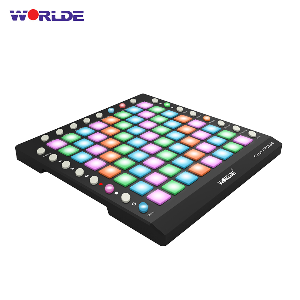 WORLDE ORCA PAD64-A Portable USB MIDI Drum Pad Controller 64 RGB Backlit Pads 24 Buttons With Optional Built-in Sound Module