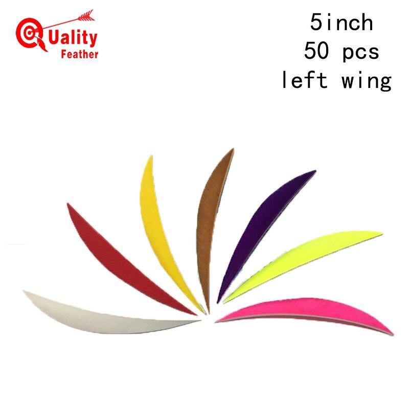 JINYUQI Traditional Shuttle Turkey Feather 50pcs 5 Archery Arrow Cut Diy Accessories