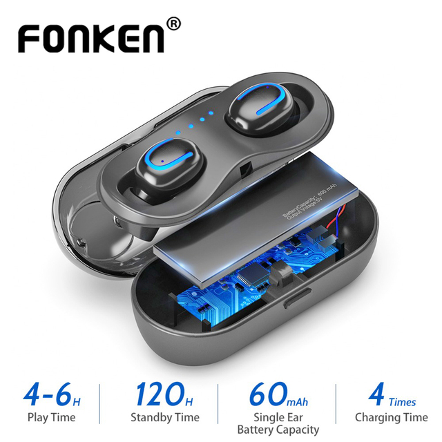 FONKEN Q13S Bluetooth אוזניות TWS HiFi סטריאו בס מוסיקה אוזניות עמיד למים ספורט אוזניות אלחוטי אפרכסת עבור Smartphone