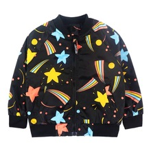 цены  INS HOT! High Quality Star sky Children girl boy Baseball Jacket Kids's spring Autumn Winter Coat wind outerwear