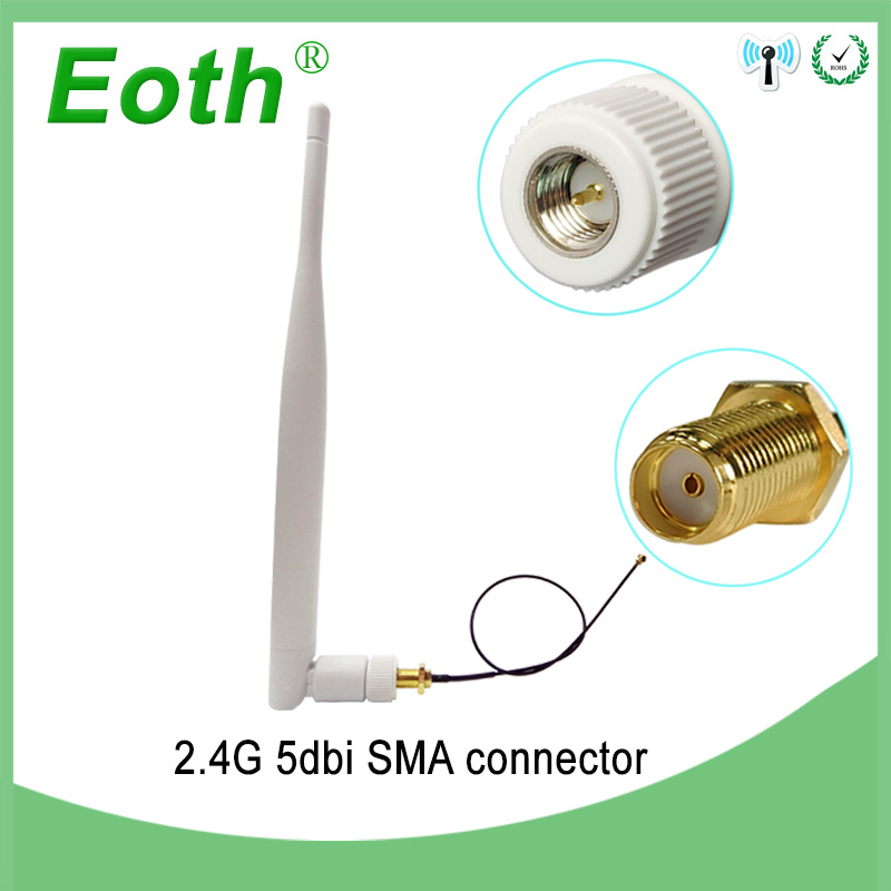 2.4Ghz Antenna Wifi 5dbi SMA Male Connector White 2.4 Ghz Antena Omni-Directional Router 2.4g Antenna +RP-SMA Male Pigtail Cable