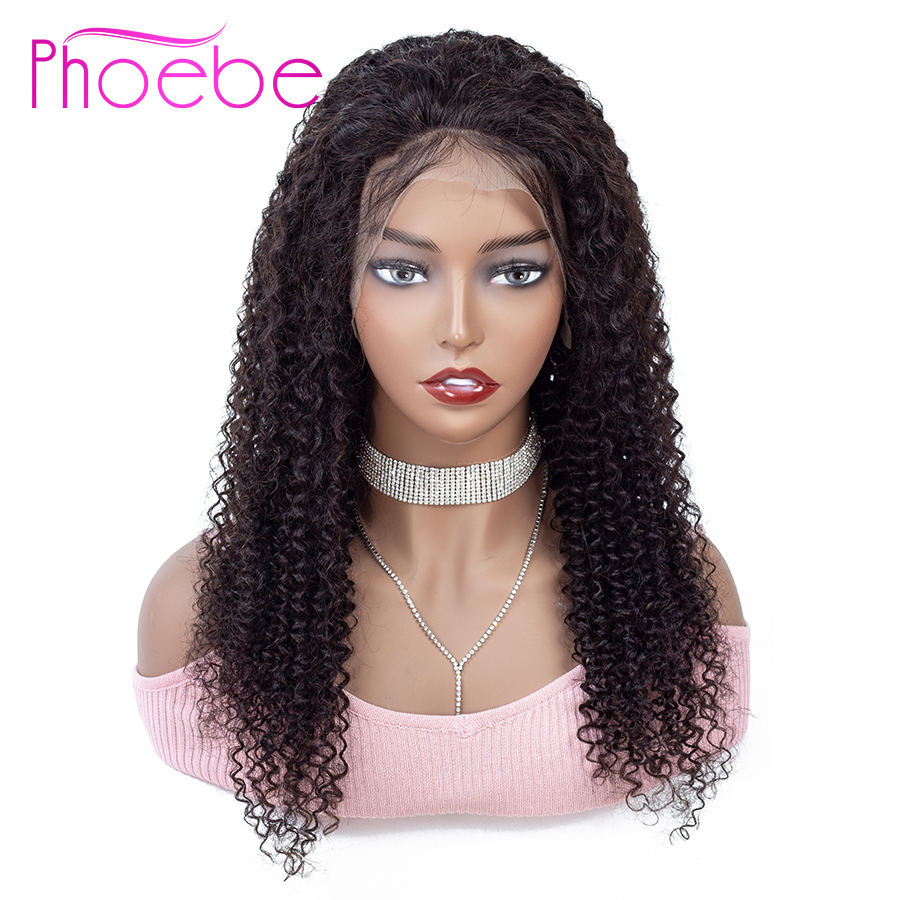 Phoebe 13x4 Lace Frontal Human Hair Wigs Brazilian Kinky Curly Lace Frontal Wig With Baby Hair For Women Non-Remy 130% Density