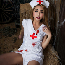 Sexy Halloween Nurse Costume For Women Scary Bloody Hospital Medical Uniforms With Dress Hat