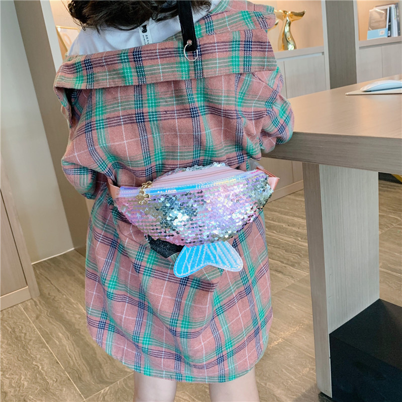 Fashion Sequins Fanny Pack Girls Shoulder Belt Bags Kids Waist Packs Korean Children Mini Messenger Crossbody Bag 2019 New Trend