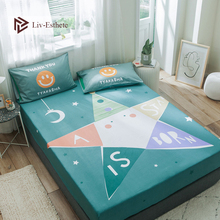 Liv-Esthete Cartoon Stars Moon Fitted Sheet Mattress Cover Bed Linen 100% Cotton On Elastic Band For Adult Child