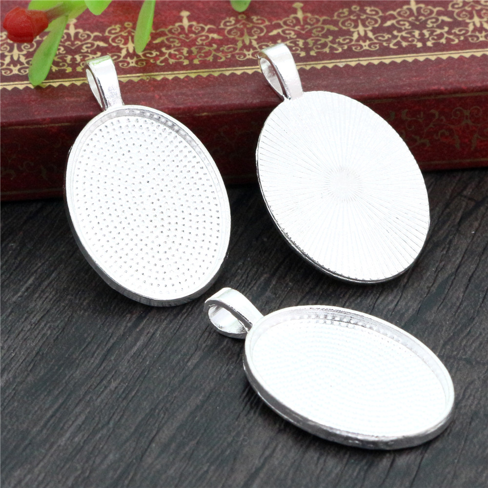 4pcs 18x25mm Inner Size Bright Silver Plated Classic Style Cameo Cabochon Base Setting Pendant Necklace Findings  (C1-19)