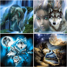 Wolf DIY 5D Diamond Painting Cross Stitch Full Square/Round Drill Resin Animal Diamont Embroidery Home Decor Drop&ship