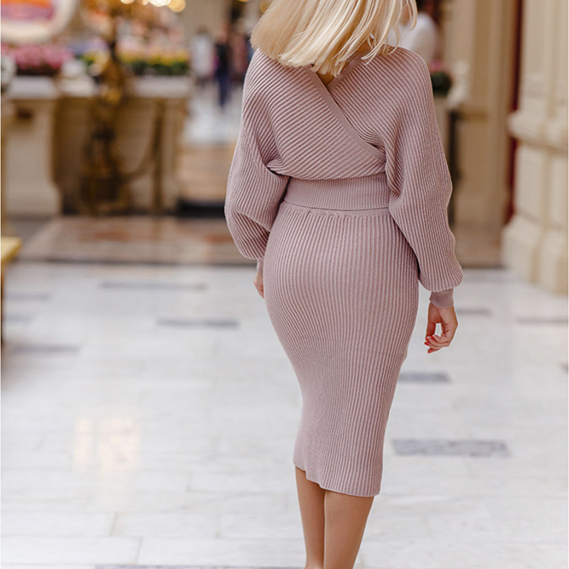 Image 4 - 2019 V neck Knitting Sweater Women Set 2 Piece Pullovers Skirt  Outfits For Women Suit Casual Shoulder Off Top Pack Hip Women  SetWomens Sets