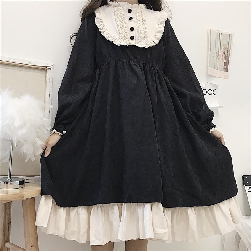 Японский стиль 2020 осенние женские платья с О-образным вырезом и высокой талией для похудения контрастный цвет гофрированное милое платье л...